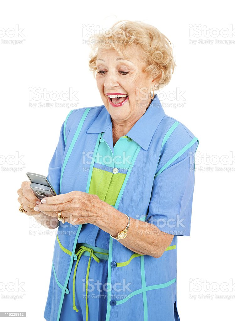 Senior Woman Loves Texting royalty-free stock photo