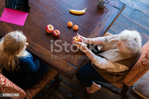 istock Senior woman matches fruit during speech therapy session at home to work on her visual comprehension skills 939837066
