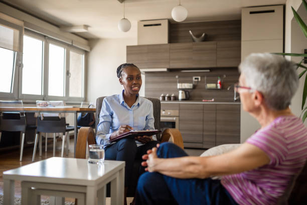 Senior woman mental health therapy at home stock photo
