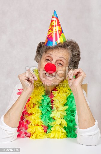 Senior Woman Of 80 Years Old Is Ready For Birthday Partyon The Cone Translation From Russian Happy Stock Photo More Pictures 89