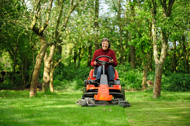 senior woman on a lawn mower - riding lawn mower stock photos and pictures