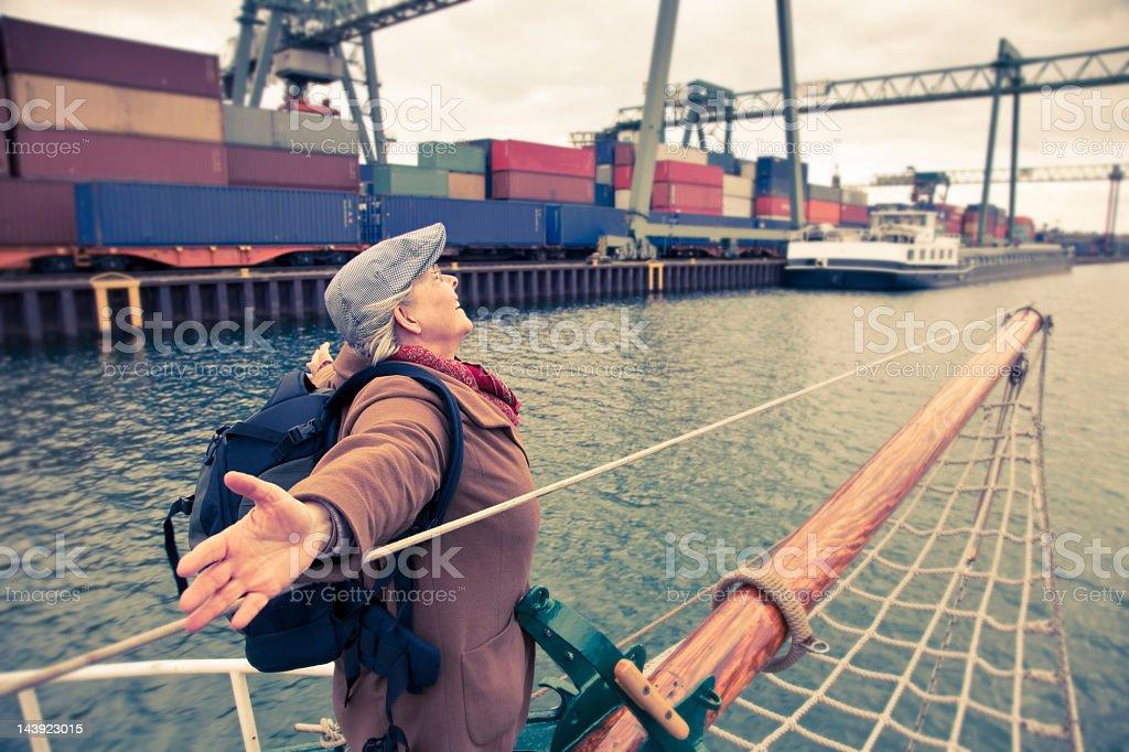 senior woman on boat royalty-free stock photo