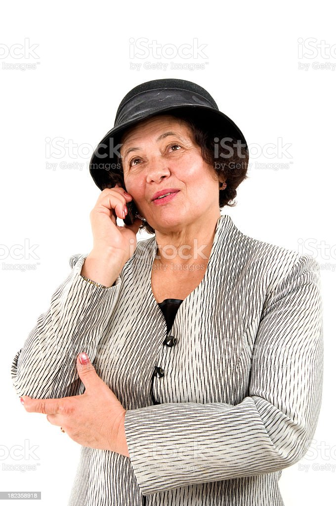 Senior woman on the phone royalty-free stock photo