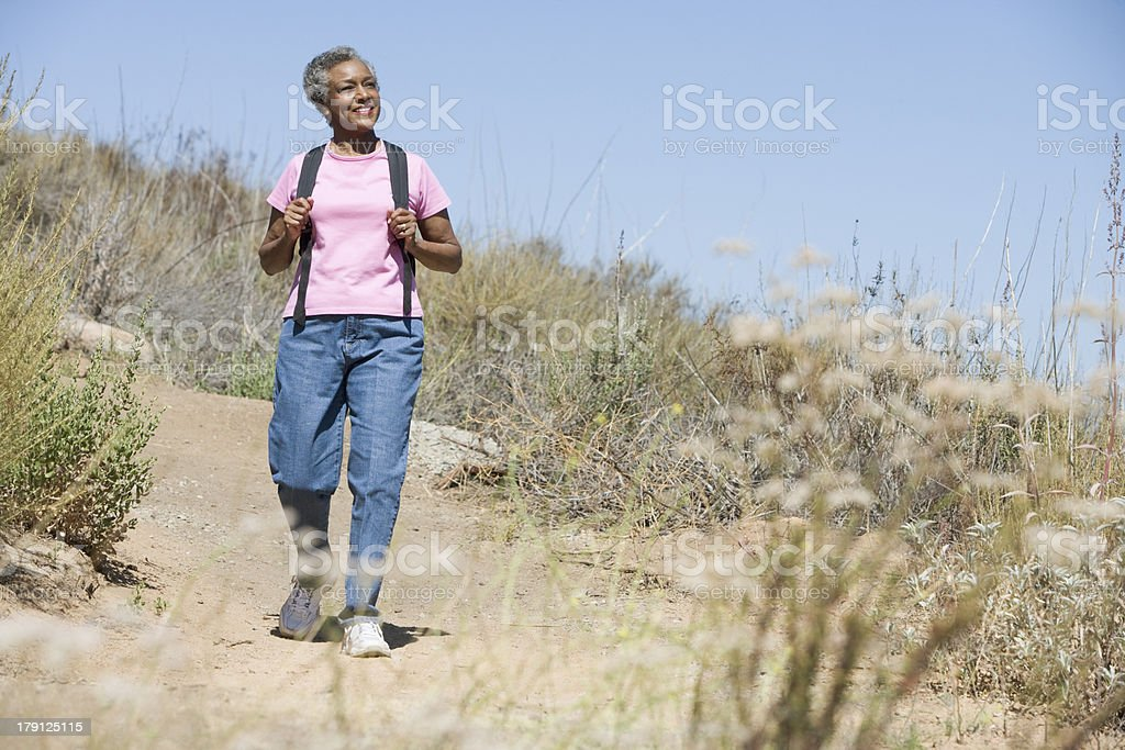 Senior woman on walk royalty-free stock photo