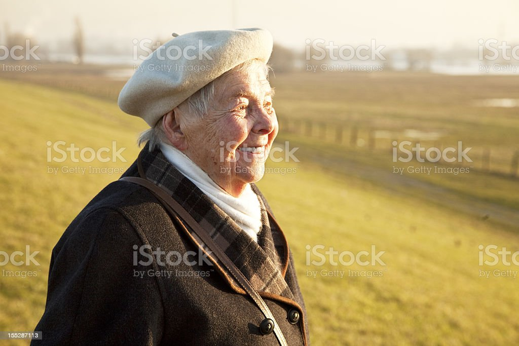 senior woman outdoors in winter royalty-free stock photo