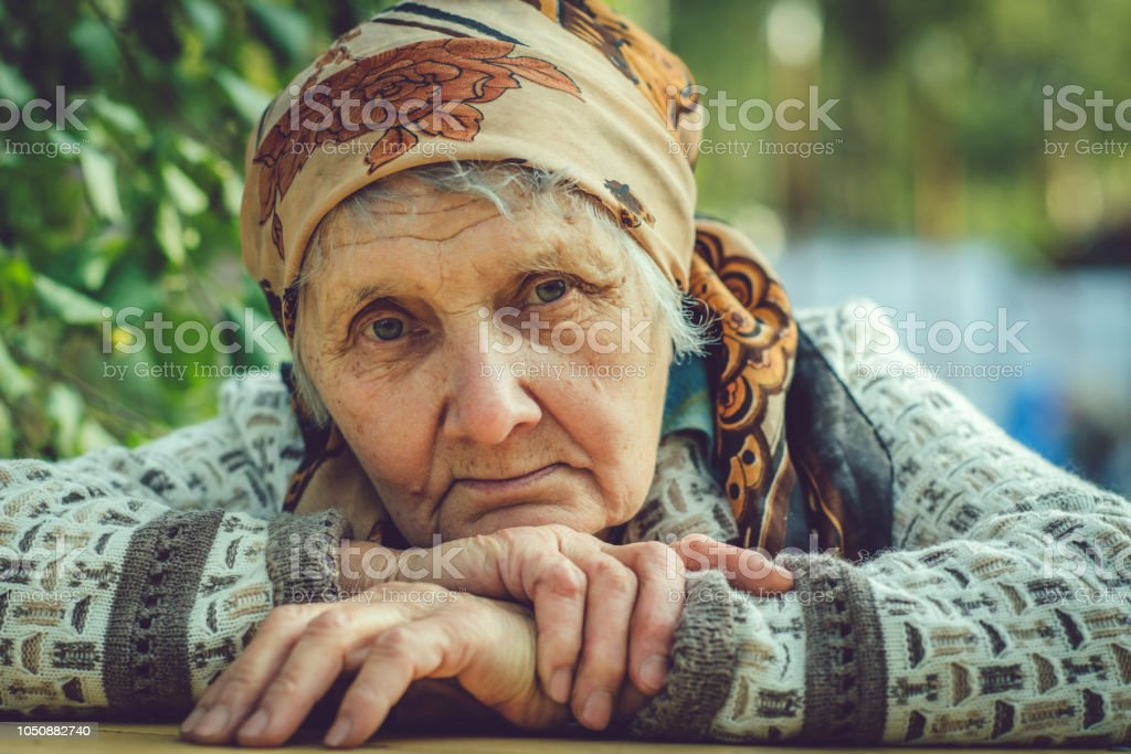 Senior woman outdoors stock photo