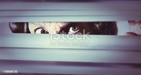 An old woman looks angrily and nervously through closed blinds.