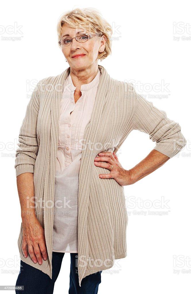 Senior woman Portrait of smiling senior woman. Studio shot, white background. 60-69 Years Stock Photo