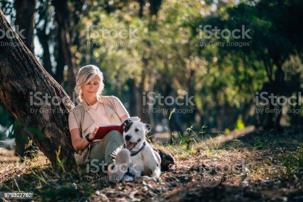 Senior woman relaxing in nature with book and pet dog picture id979327762?b=1&k=6&m=979327762&s=612x612&h=roovanlugv67goodp97rwxw9b tkm9og5qui6lgz3pc=