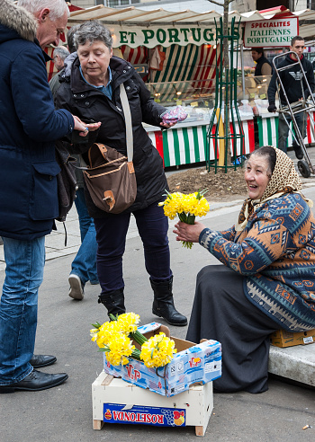 Paris, France - March 10, 2013: An unidentified smiling senior woman sells yellow narcissuses to buyers at market on March 10, 2013 in Paris, France. Narcissuses is the traditional Easter flower in european countries.