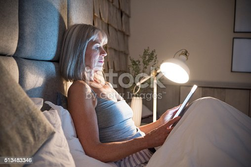 Woman in her 60s using digital tablet in bed with electric lamp shining. She is sitting propped up against the headboard reading an ebook.