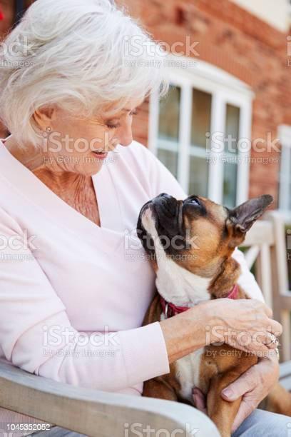 Senior woman sitting on bench with pet french bulldog in assisted picture id1045352052?b=1&k=6&m=1045352052&s=612x612&h=u7tltmrvitioxul93o4zktpnb9e1fyrly7q3umzxsl0=