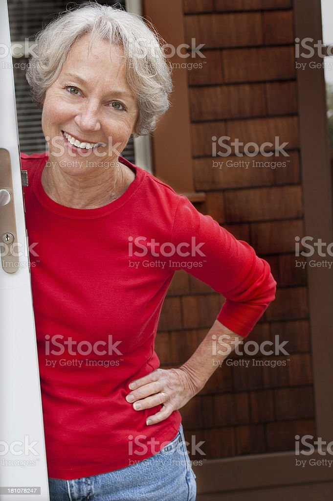 Senior Woman Smiling and happy royalty-free stock photo