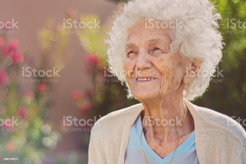 Senior Woman Smiling, Outdoors foto royalty-free