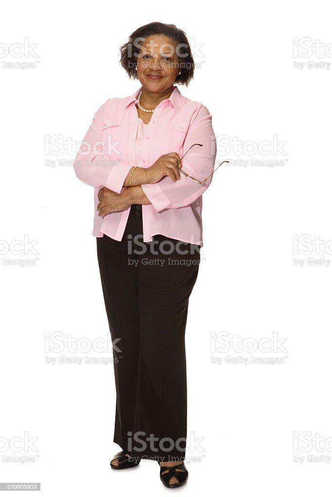 Senior woman smiling, portrait stock photo