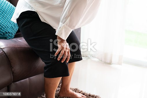 698466046 istock photo senior woman suffering from knee pain at home, health problem concept 1030376318
