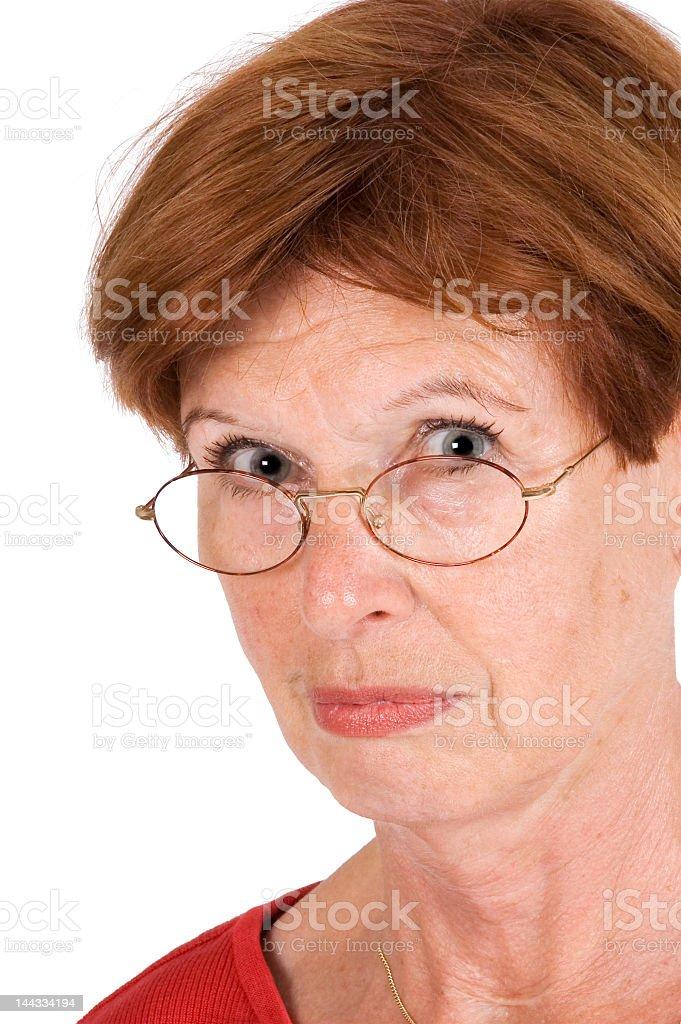 senior woman sulked stock photo