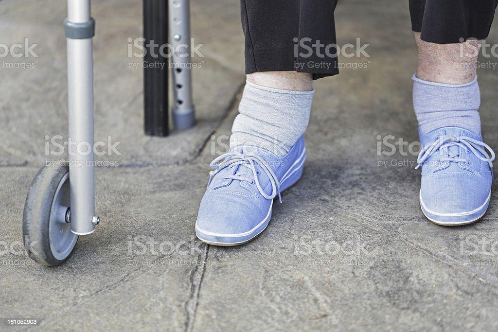 Senior Woman Swollen Ankles stock photo