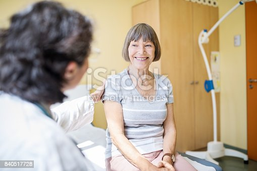 istock Senior woman visiting hospital for health checkup 840517728