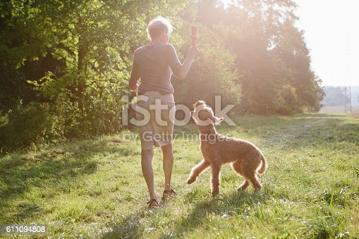 istock Senior woman walking with her dog between fields and forest 611094808