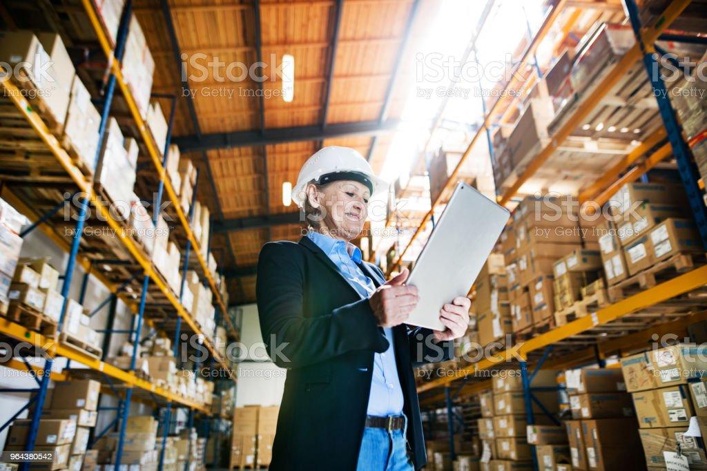 Senior vrouw magazijnbeheerder of toezichthouder met tablet, werken. - Royalty-free Actieve ouderen Stockfoto