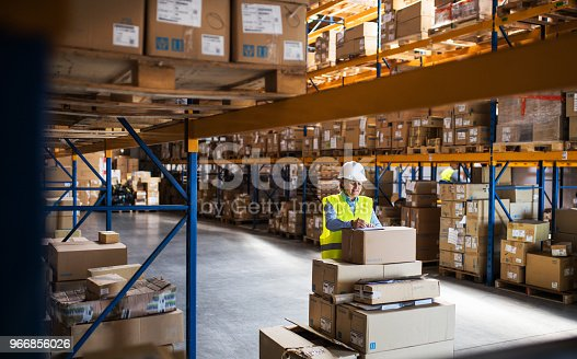 A senior woman worker or supervisor controlling stock in a warehouse.
