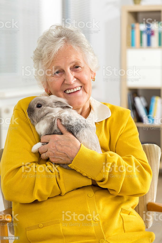 Senior woman with a little rabbit stock photo