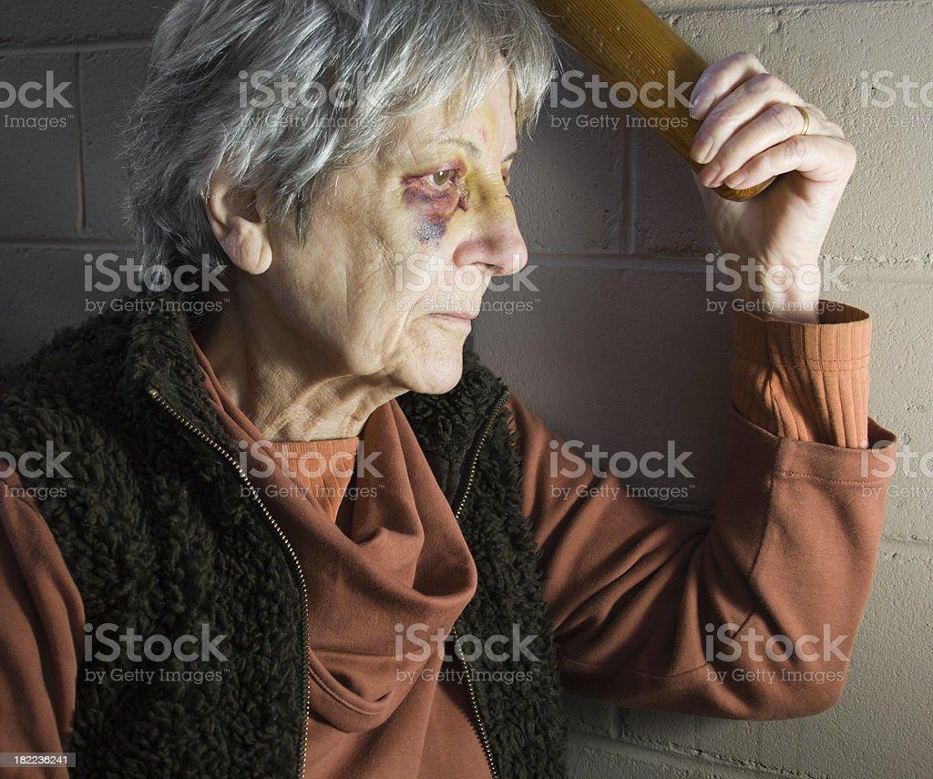 Senior Woman with Black Eyes royalty-free stock photo