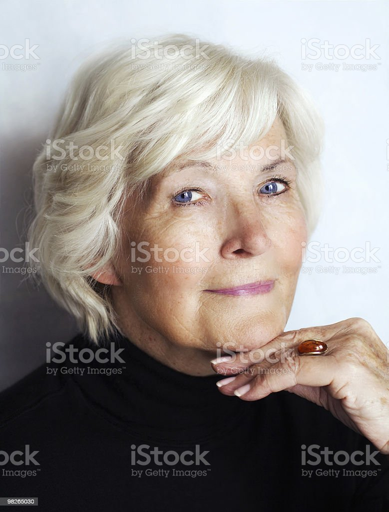 Senior woman with black polo neck stock photo
