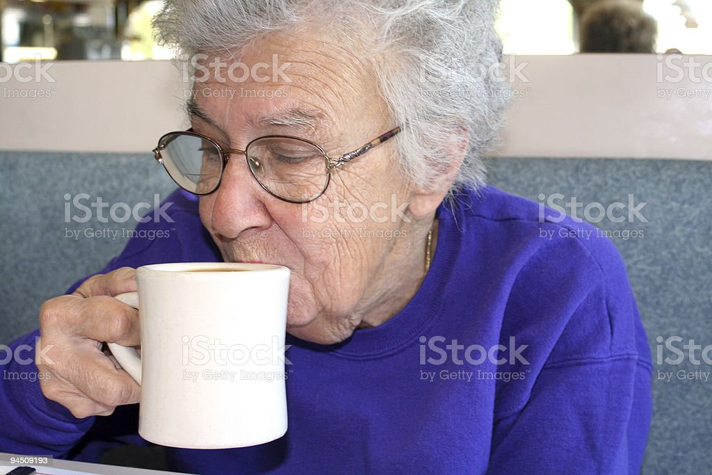 Senior Woman With Coffee royalty-free stock photo