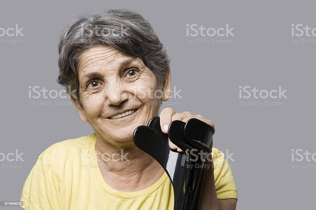 Senior woman with crutches royalty-free stock photo