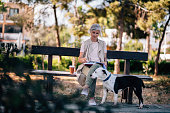 istock Senior woman with dog and coffee reading book in park 979258282