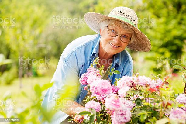 Photo of Senior woman with flowers in garden