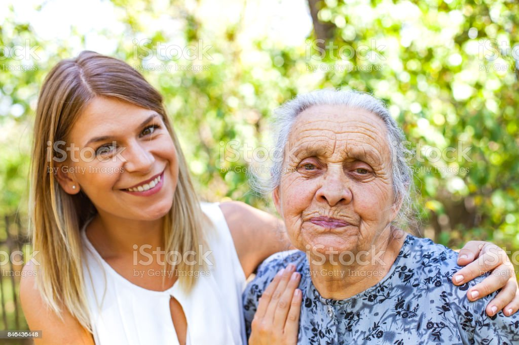 Senior woman with granddaughter stock photo