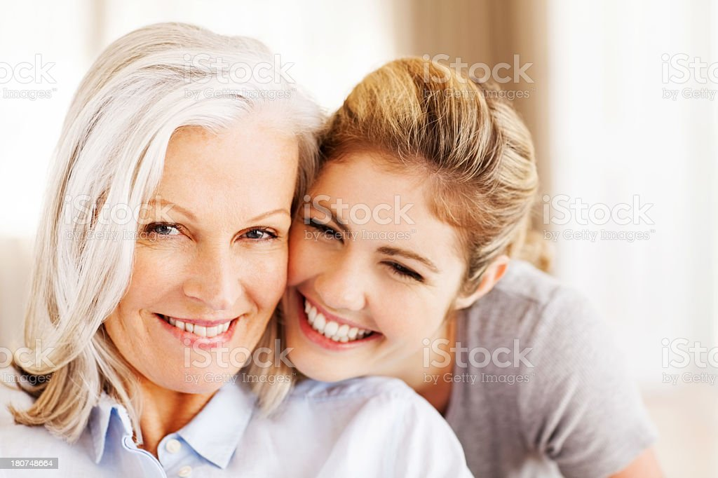 Senior Woman With Happy Granddaughter royalty-free stock photo