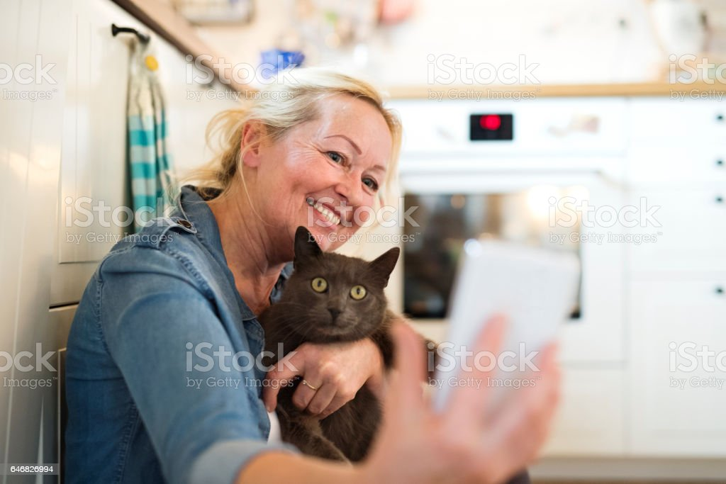Senior woman with her cat at home relaxing stock photo