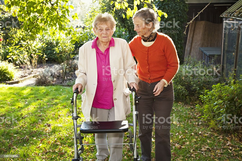 senior woman with mature daughter royalty-free stock photo