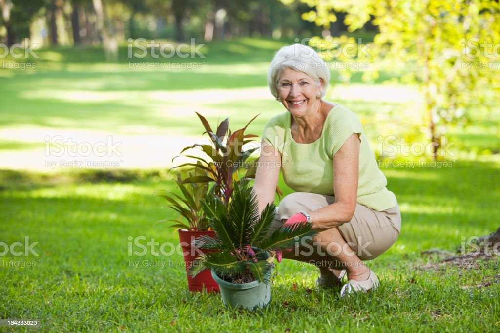 Senior woman with potted plants stock photo