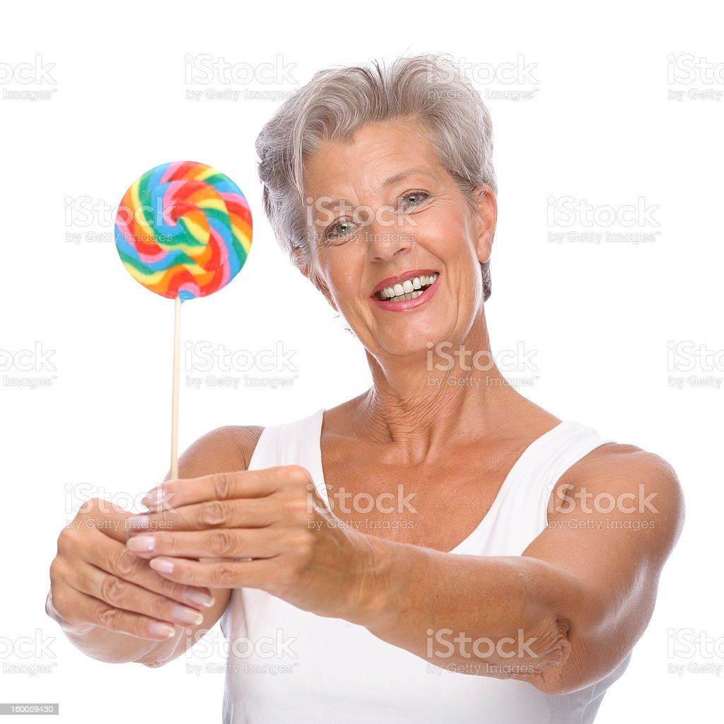 Senior woman with sweets royalty-free stock photo