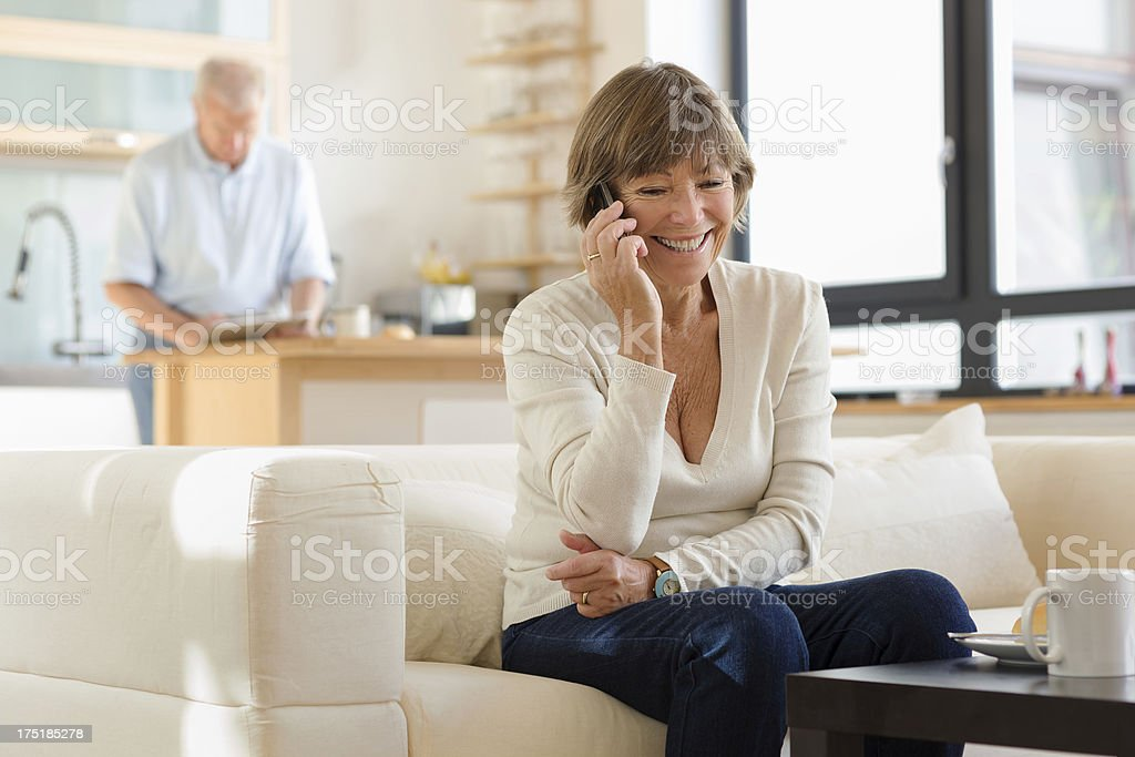 Senior woman with tablet computer stock photo
