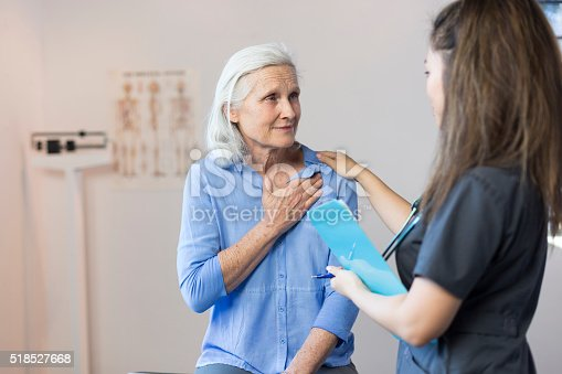 istock Senior Woman's Doctor's Office Visit For Chest Pain 518527668