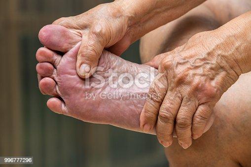 Senior woman's hands massaging her foot, About massage concept