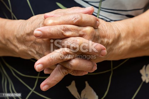 Senior woman's holding her hands and praying, Close up & Macro shot, Selective focus, Asian Body skin part, Body language feeling, Religious concept