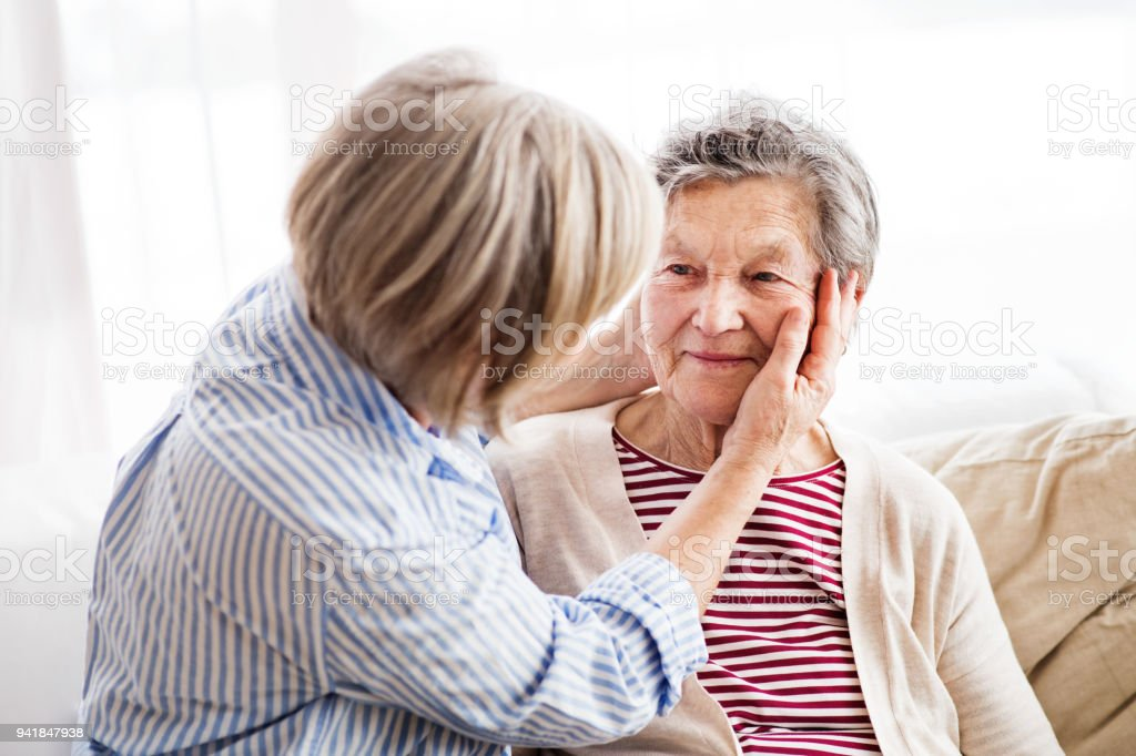 Senior women at home. stock photo