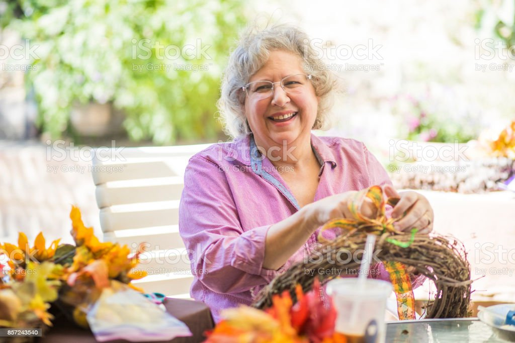 Senior women crafting stock photo