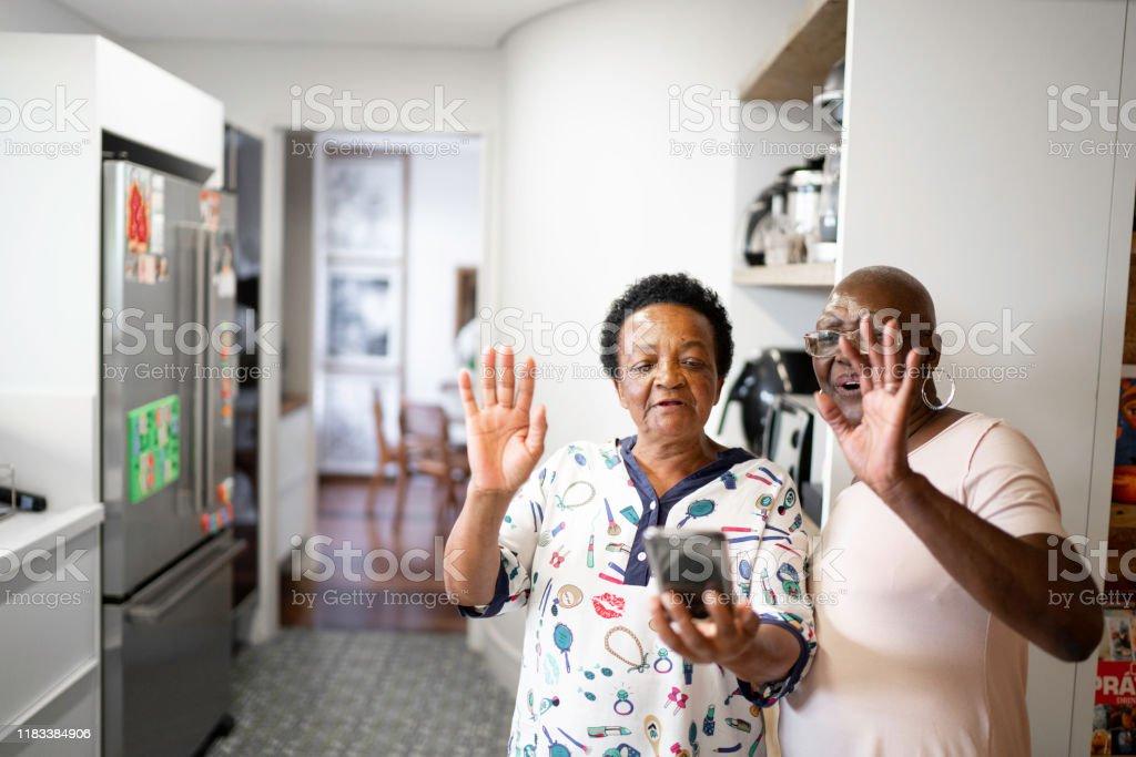 Senior women doing a video call using smartphone Senior women doing a video call using smartphone 65-69 Years Stock Photo