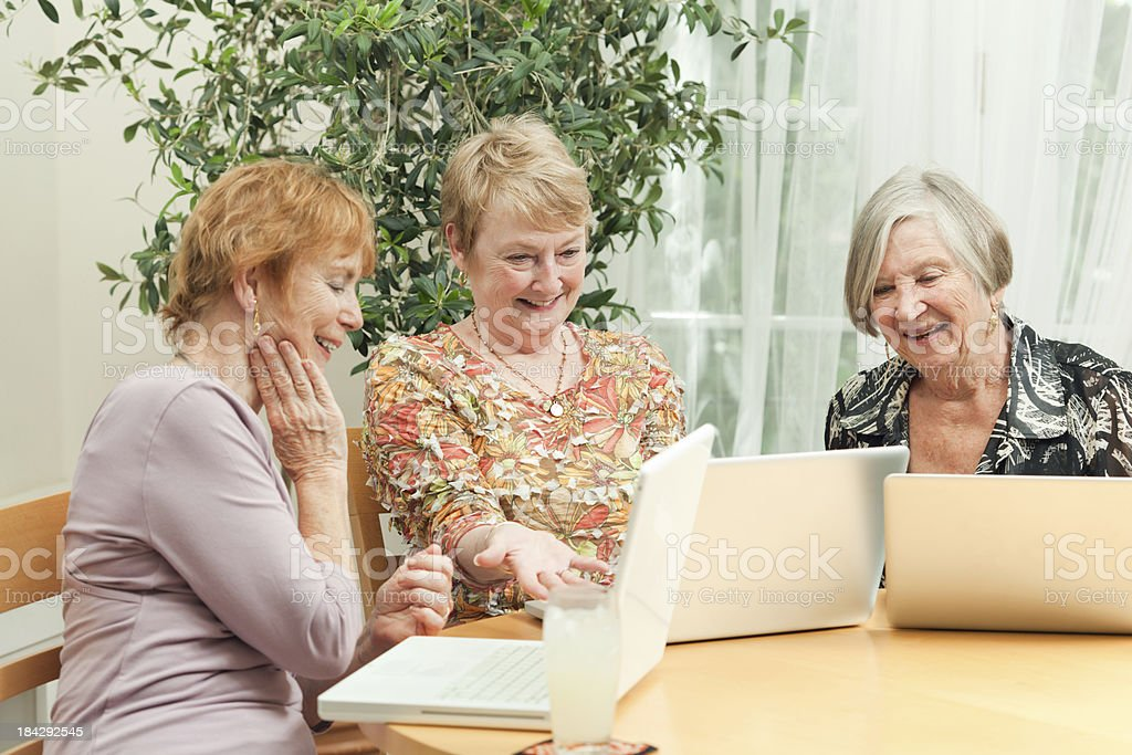 Senior Women Enjoying Learning Computer Together in Educational Class royalty-free stock photo