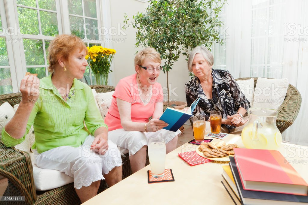 Senior Women Group Social Gathering Book Club stock photo
