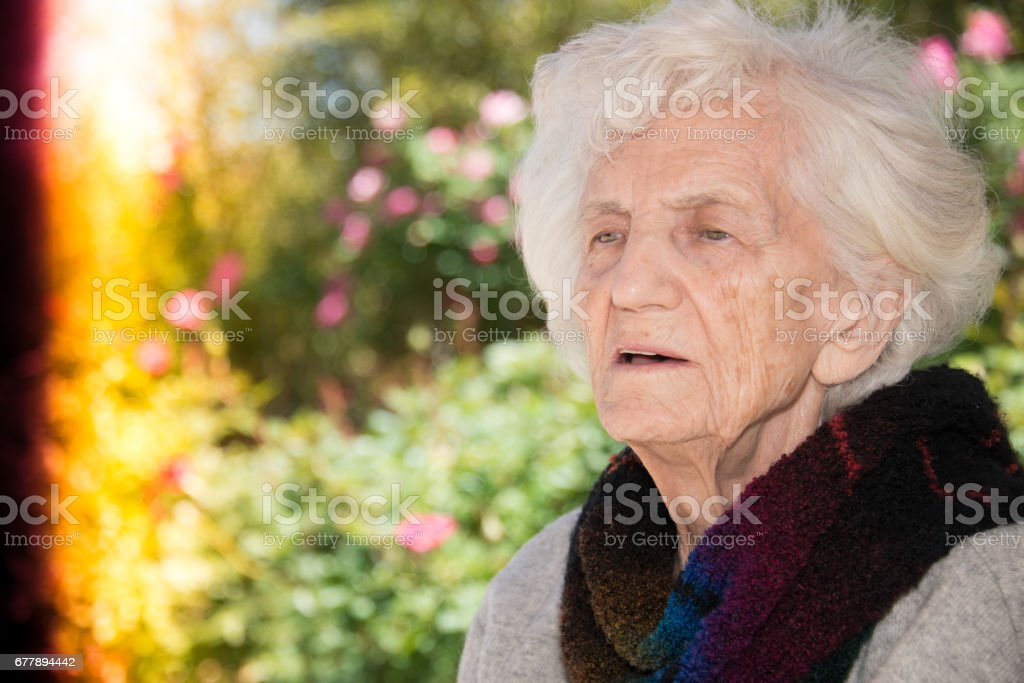 Senior Women Lost in Thoughts royalty-free stock photo