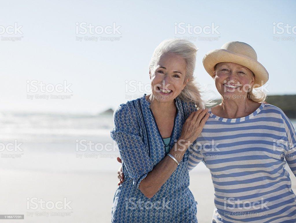 Senior women on beach royalty-free stock photo